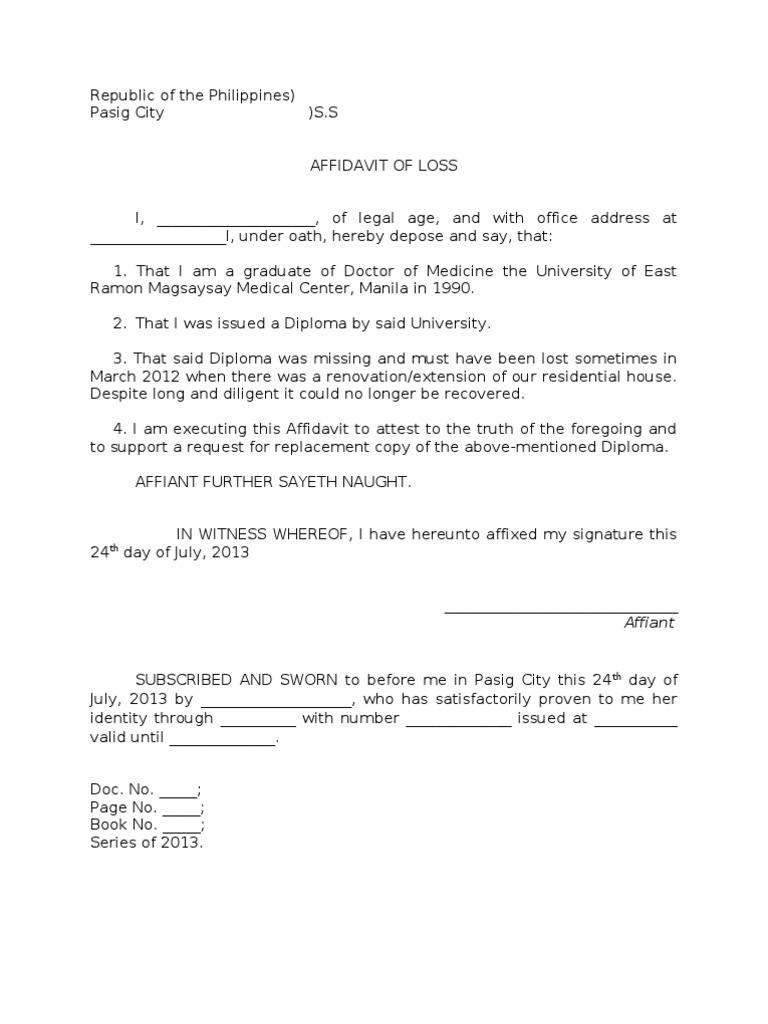 Sample Affidavit of Loss of a Diploma – Affidavit Samples