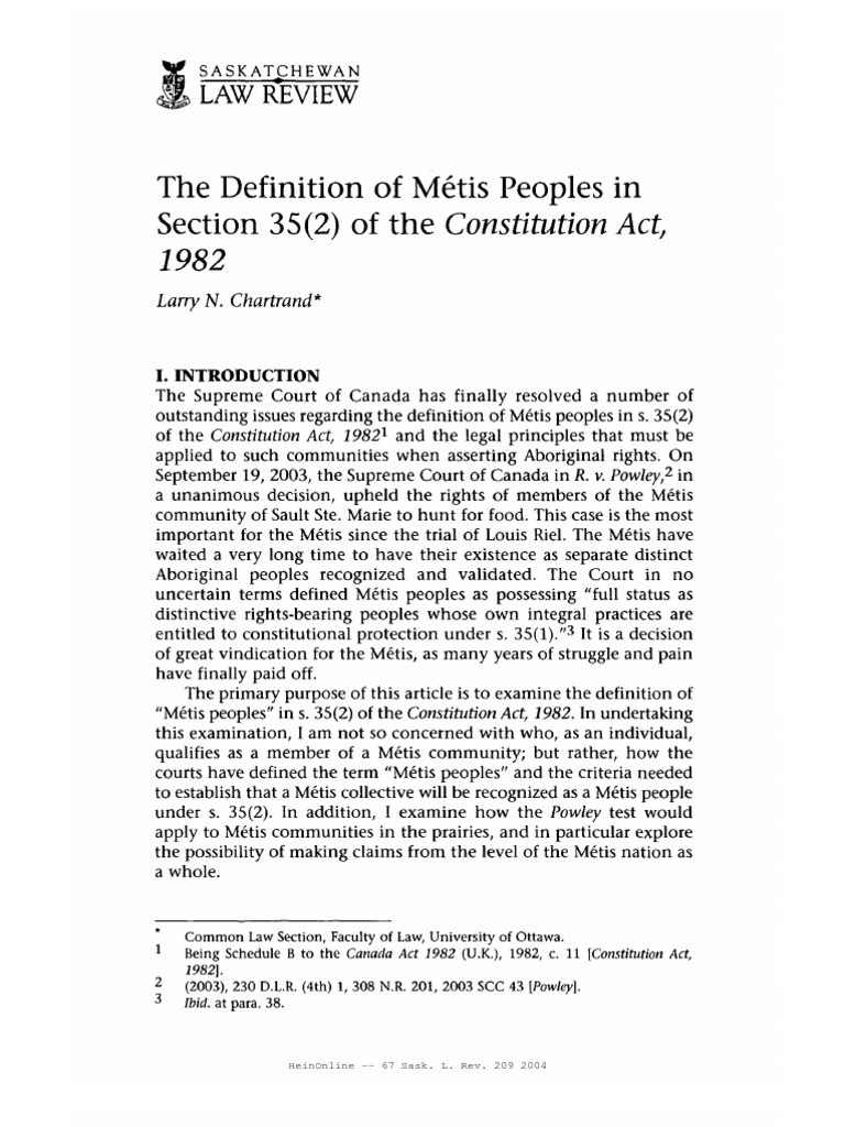 definition of metis people in section 35 (2) of the constitution act