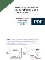Ciclos de nutrientes y Fertilización; R García Ruíz.