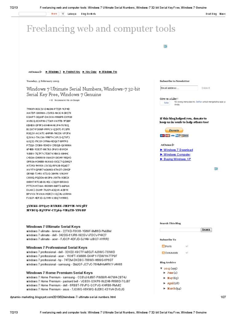 Windows 7 genuine key free download