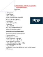 Parámetros que intervienen en el diseño del separador