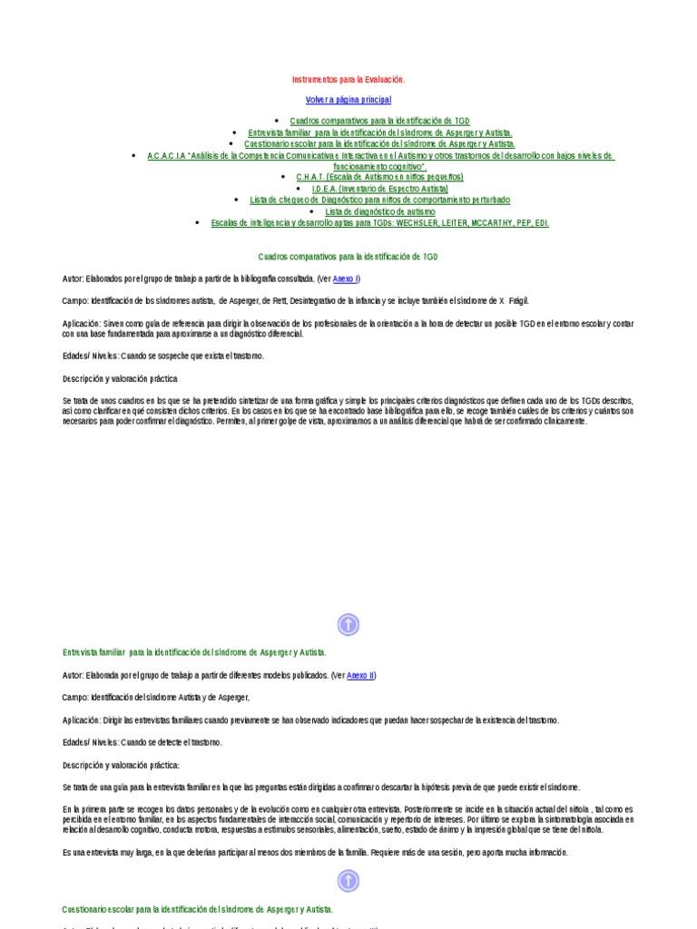 Para De Sindr Autismo Asperger La Instrumentos Y Evaluacion rCxBedo