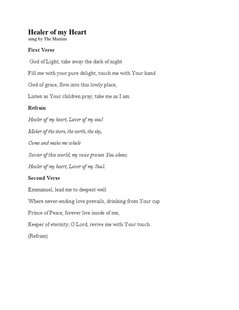 Healer of My Heart - Lyrics (Sung by the Martins)