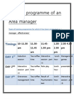 Training Programme of an Area Manager