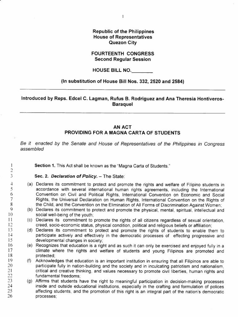 magna carta for students An act providing a magna for carta students of be it enactedby the  senafeand house of representatives the philippines congress of rn assemb/.