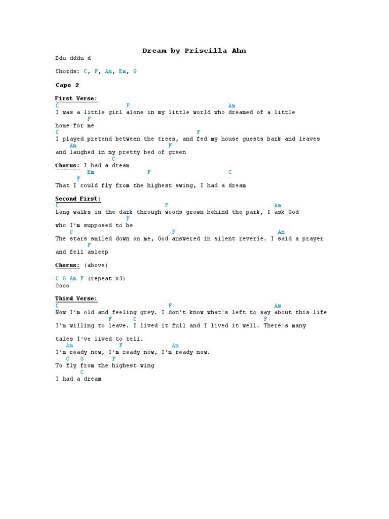 Dream by priscilla ahn piano sheet music:teaser youtube.