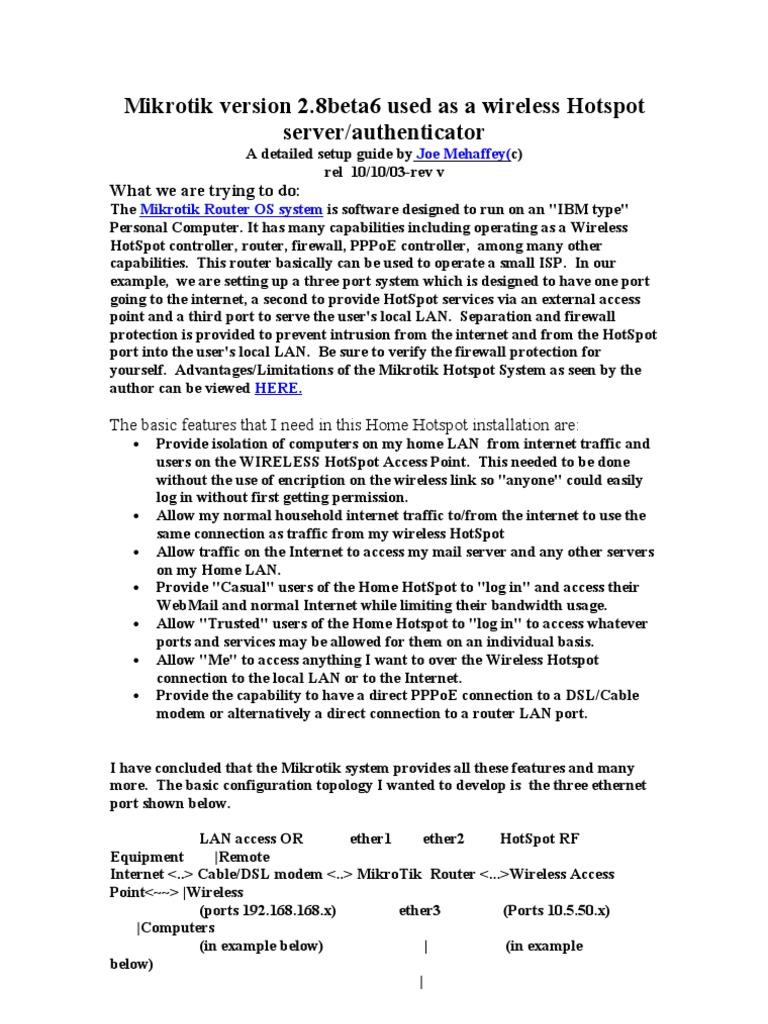 Hotspot Mikrotik 2 8 | Ip Address | Proxy Server