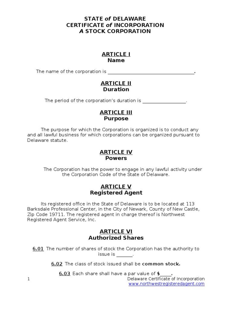 Delaware Certificate Of Incorporation Delaware Corporations