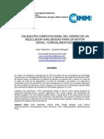 Validación Computacional Del Diseño De Un Mezclador Aire-Biogás Para Un Motor Diesel Turboalimentado