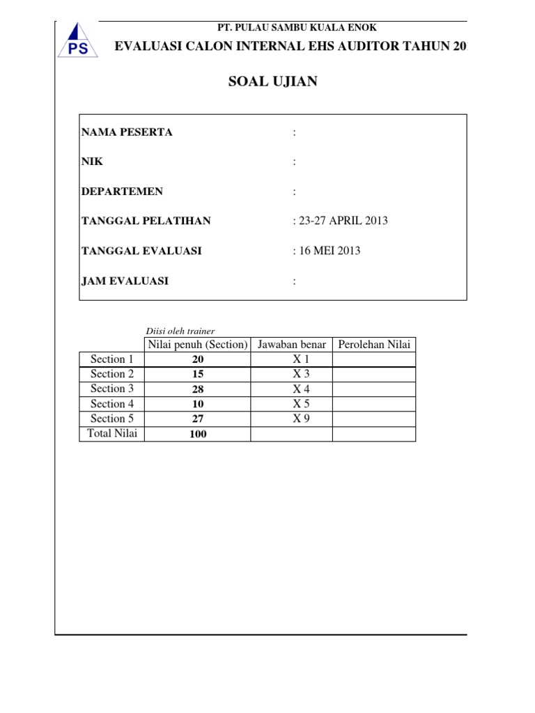 Soal Ehs Auditor Internal1 276dd37646