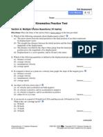 Kinematics Practice Test