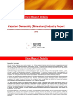 Vacation Ownership (Timeshare) Industry Report