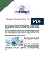 Application of Surfactants – Fatty Amine Ethoxylates