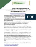 Auszug aus dem Abschlussbericht des UN Sonderbeauftragten, Martin Kobler, vor dem UN Sicherheitsrat am 16.07.2013