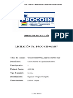 EXPEDIENTE DE LICITACIÓN No. PROC-CII-001-2007