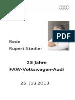 Rupert Stadler - 25 Jahre Audi in China