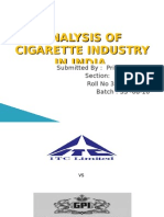 Analysis of Cigarette Industry in India