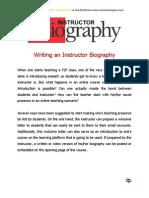 Writing an Instrocutor Bio