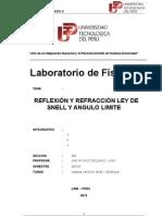 Informe Nº 8 - Reflexion y Refraccion Ley de Snell y Angulo Limite