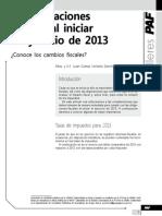 Consideraciones fiscales al iniciar el ejercicio de 2013. Conozca los cambios fiscales.pdf