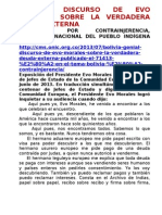 Bolivia, Discurso de Evo Morales Sobre La Verdadera Deuda Externa