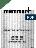 Memmert Um Sm Ulm Slm Manual Eng