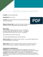 sample job specification & description