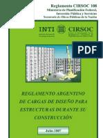 Reglamento 108 - Cargas de diseño Construccion