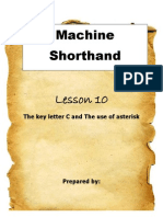 Machine Shorthand Lesson 10