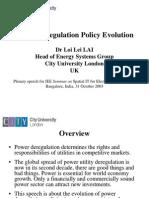 Power Deregulation Policy Evolution