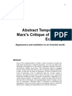 Abstract Temporality & Marx's Critique of Political Economy