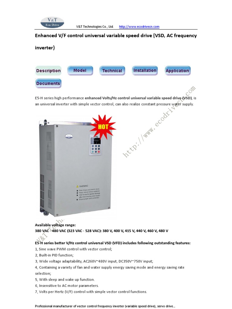 Enhanced V F Control Universal Variable Speed Drive Vsd Frequency Electronics Hobby Inverter Power Mechanical Fan