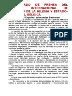 COMUNICADO DE PRENSA DEL TRIBUNAL INTERNACIONAL DE CRÍMENES DE LA IGLESIA Y ESTADO