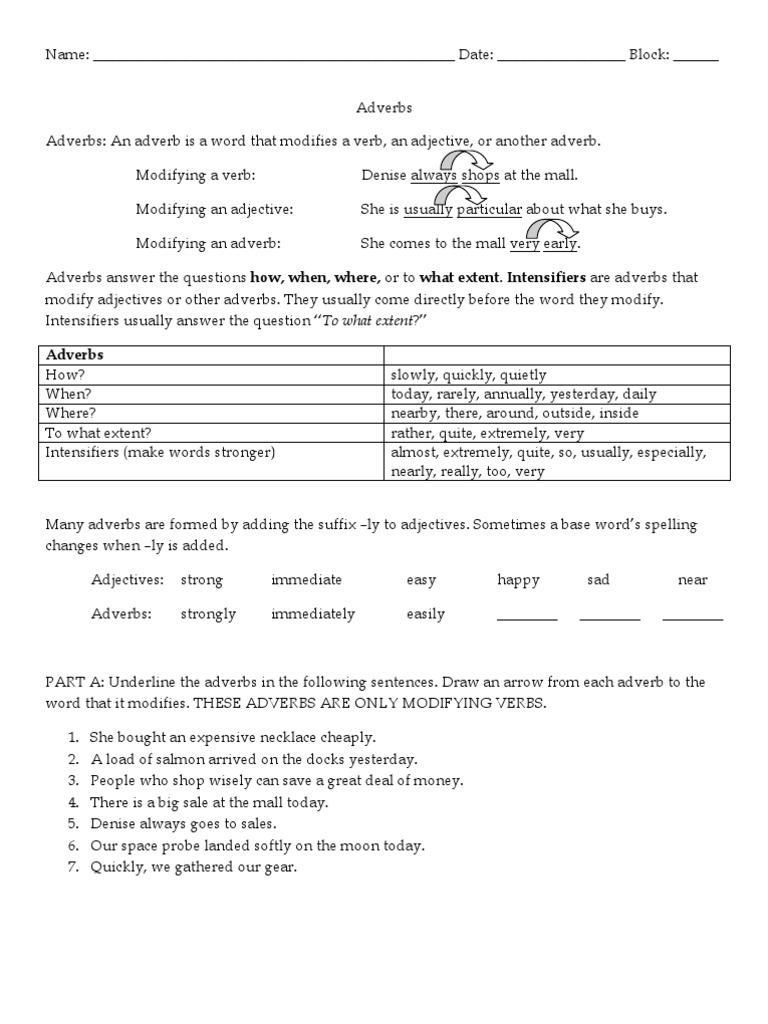 Adverbs Worksheet | Adverb | Adjective