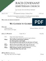 Worship Bulletin July 21, 2013