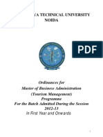 Ordinances for MBA (Tourism Management)