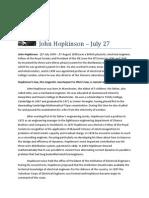 July 27 - John Hopkinson