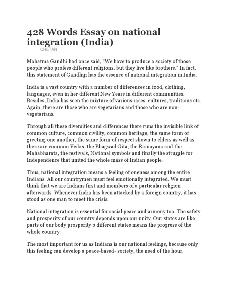 Essay on national integration pdf