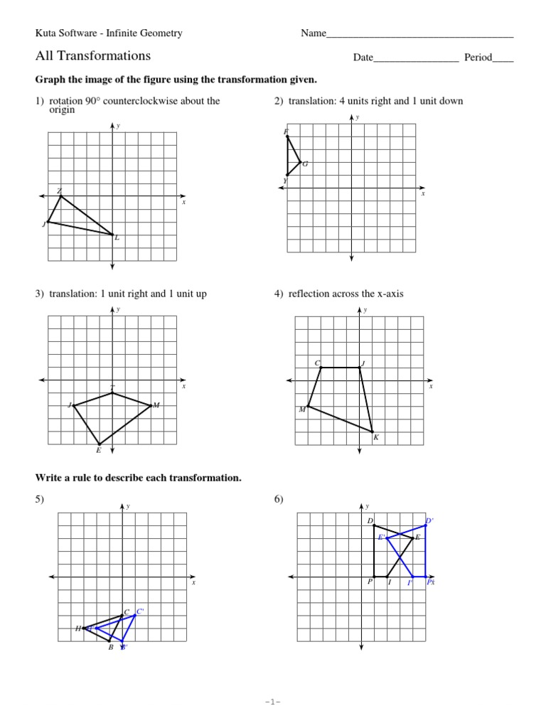 Transformations Geometry Worksheets picture graph worksheets for ...