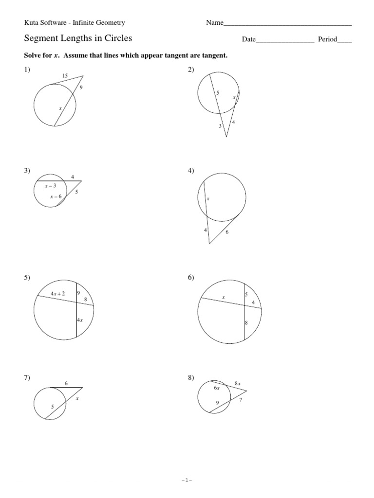 11Segment Lengths in Circles – Inscribed Angles Worksheet