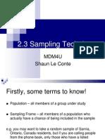 2.3 Sampling Techniques(1)