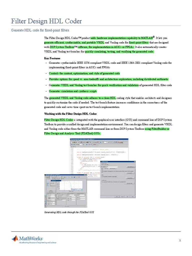 Filter Design Hdl Coder | Hardware Description Language | Digital