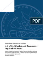 List of Certificates and Documents required on Board