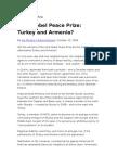 Nobel Prize for Turkey and Armenina CS Monitor 10-08-09