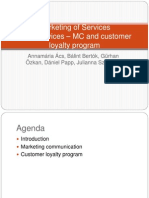 Marketing of Services: Hotel services – Marketing Communication and customer loyalty program