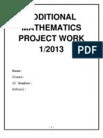Additional Mathematics Project Work Sarawak 2013
