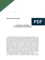 Cognitive Critique of Geretive Grammar
