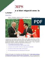 La Suisse a bien négocié avec la Chine samedi 6 juillet 2013