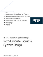 1.0 Introduction to Industrial Systems Design