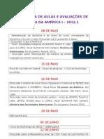 2012.1-CRONOGRAMA DE HIST+ôRIA DA AM+ëRICA I